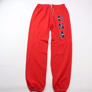 Vintage USA Spell Out Joggers Jogger Pants Red XL